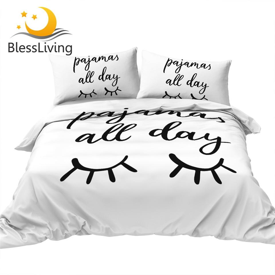 Full BlessLiving Eyelash Bedding Gold and Black Cute Eyes Pattern Quilt Cover Set 3 Piece Funny Duvet Cover for Fashion Girls