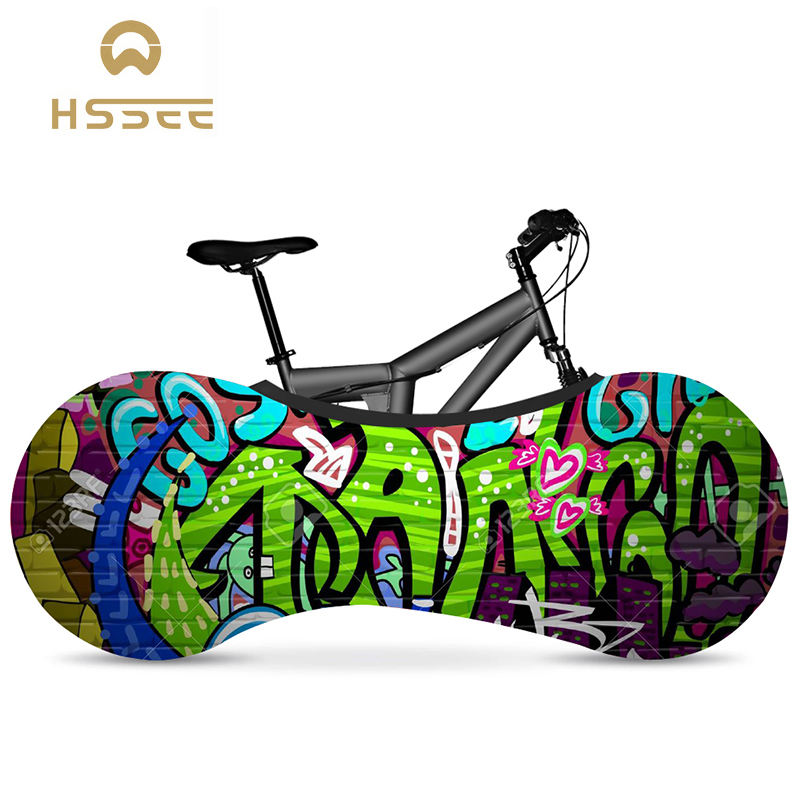 HSSEE Graffiti Series Bicycle Indoor Dust Cover Elastic Fabric Bicycle Tire Cover Official Authentic Road Bike Accessories