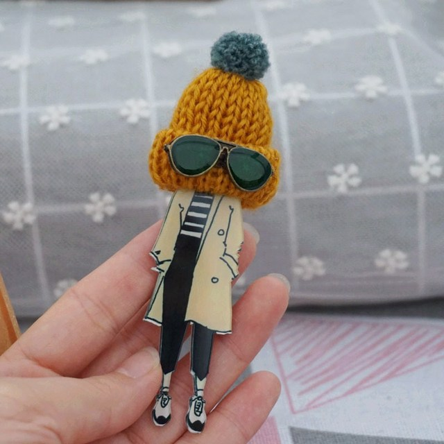 New coming fashion jewelry brooch with glass girl cool cute brooch pin cartoon badge clothes icon Brooches for Woman accessories