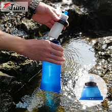 Outdoor Survival Personal Camping Softflask Life Collapsible Water Filter 600ML Portable Foldable Filtered Water Purifier Bottle