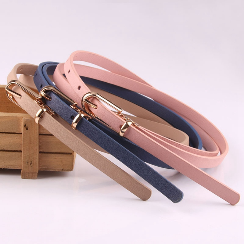 Elegant Belt Women's Skinny Belt Solid Color Joker Pin Buckle Dress Adjustable Thin Belt Dress Belt