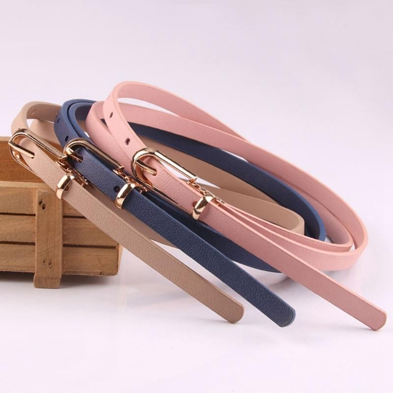 Elegant Belt Women's Skinny Belt Solid Color Joker Pin Buckle Dress Adjustable Thin Belt Dress Belt