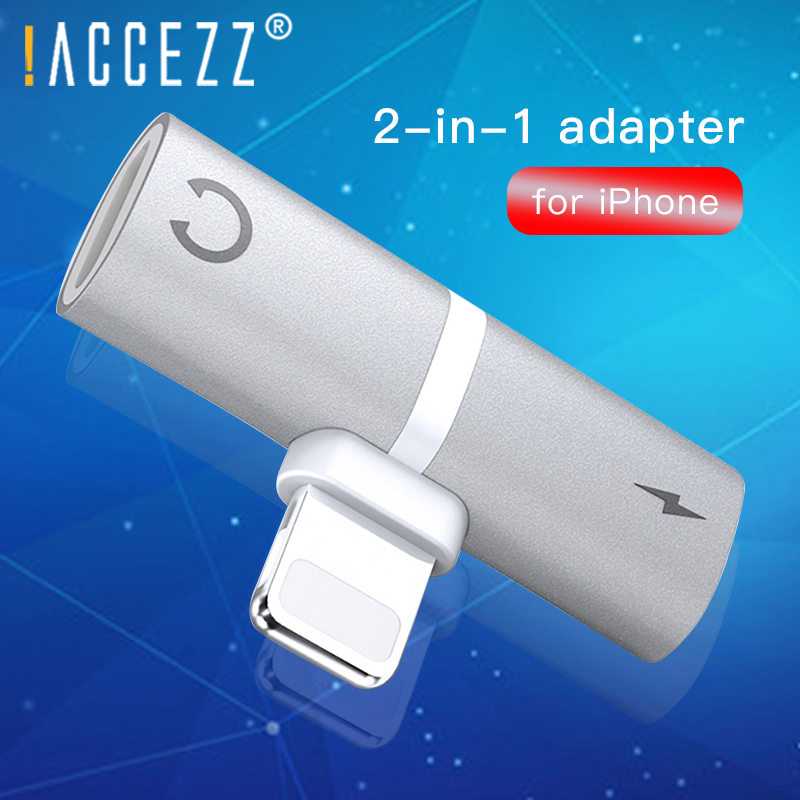 !ACCEZZ Mobile Phone Adapter For <font><b>iPhone</b></font> X <font><b>8</b></font> Plus XS MAX XR Adaptador For <font><b>iPhone</b></font> Lighting <font><b>Connector</b></font> Charging Calling AUX Splitter image