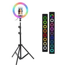 26cm 33cm rgb selfie anel luz de preenchimento com 160cm tripé fotografia regulável anel lâmpadas para tiktok youtube maquiagem vídeo luzes