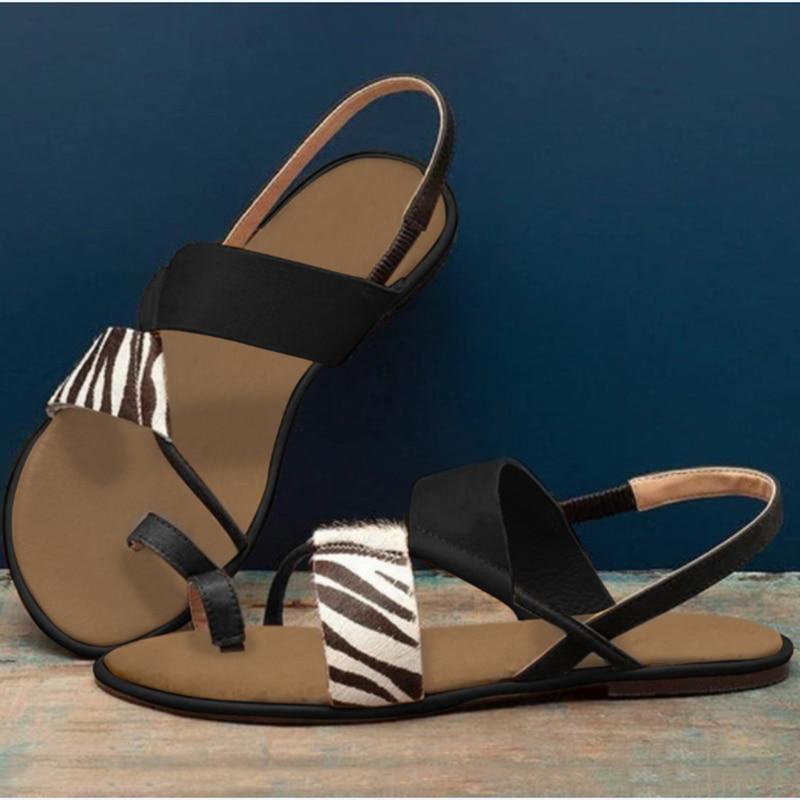 Sandalias planas de moda para mujer, informales, con Clip