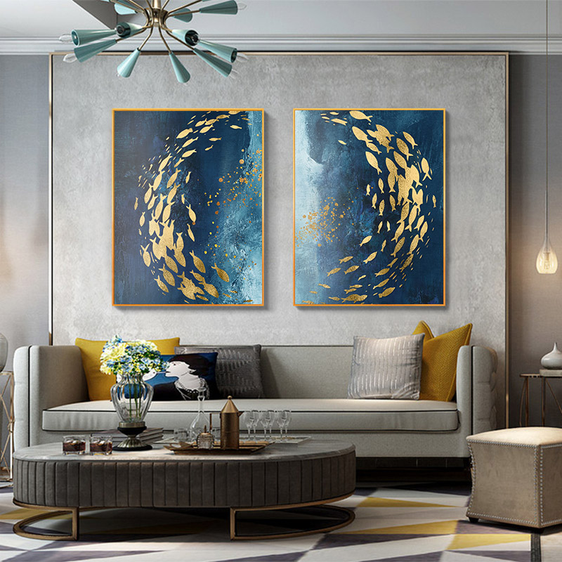 Golden Fish Blue Sea Wall Art Canvas Painting Print Wall Poster Living Room Deco
