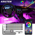 Auto Innen Licht RGB LED Dekorative Licht Streifen Mit USB Wireless Remote Musik Steuerung Mehrere Modi Auto Fuß Licht