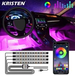 Luz interior do carro rgb led tira de luz decorativa com usb controle remoto sem fio música vários modos carro pé luz