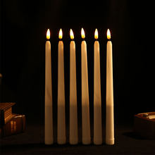 6/12/24 piezas velas cónicas LED sin llama parpadeantes de plástico con llama de bala, velas de Navidad con batería de ámbar amarillo de 28 cm
