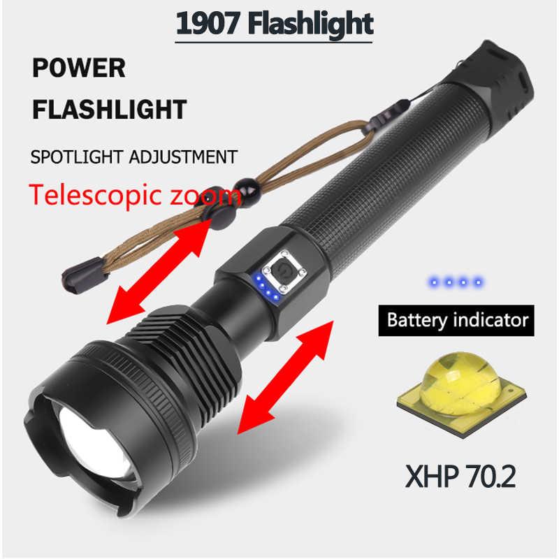 Z90 más potente XHP90 LED linterna Zoom linterna XHP70.2 USB recargable luz táctica 18650or26650 Camping caza lámpara