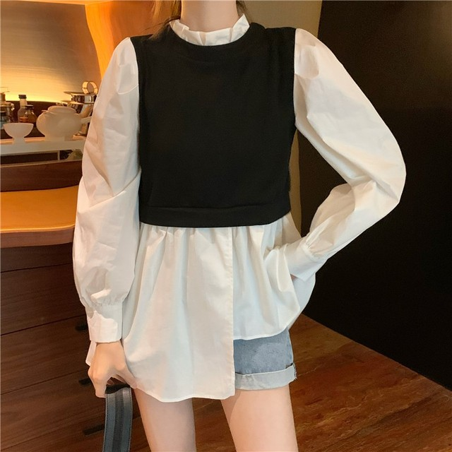 Spring Patchwork Fake Two Piece Shirts Women Autumn Irregular Puff Sleeve Causal Tops Vintage Sexy Stand Collar Blouse Femme 2