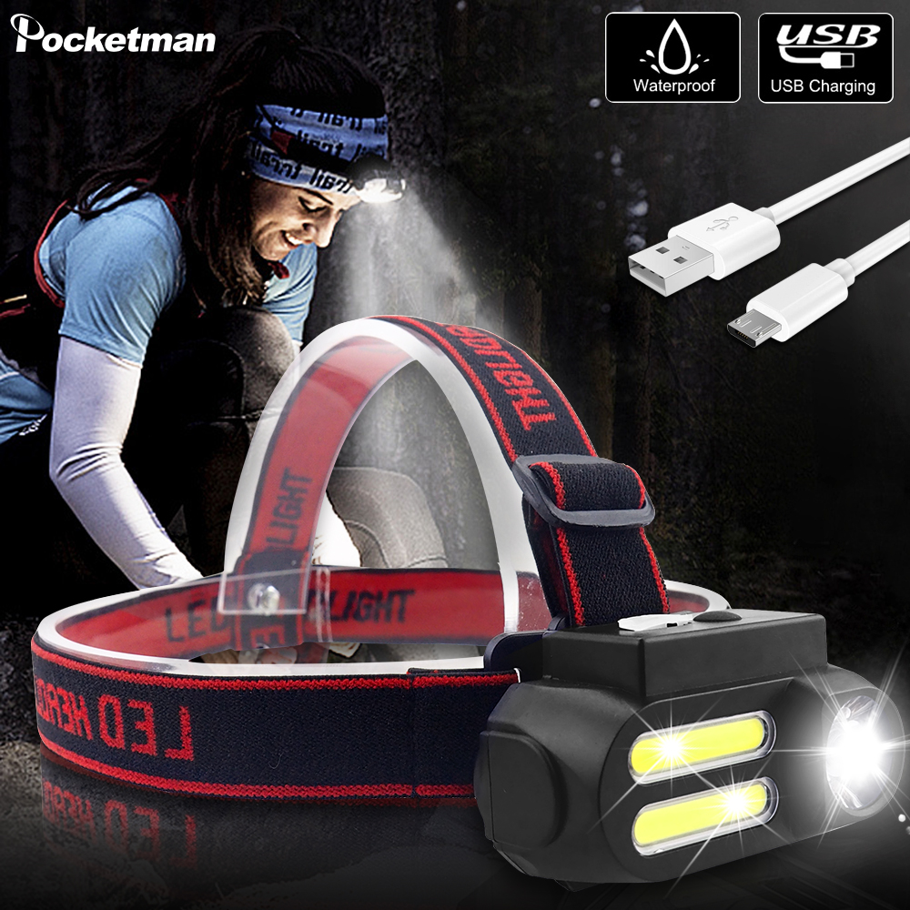 Most Bright Portable 2*COB LED Headlamp Work Light Waterproof Headlight Use 18650 Battery USB Rechargeable Head Light