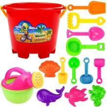 2021 novo quente 14 pçs brinquedos para crianças praia conjunto de ferramentas areia jogar brinquedos crianças diversão água praia ferramentas à beira-mar presentes de armazenamento brinquedo