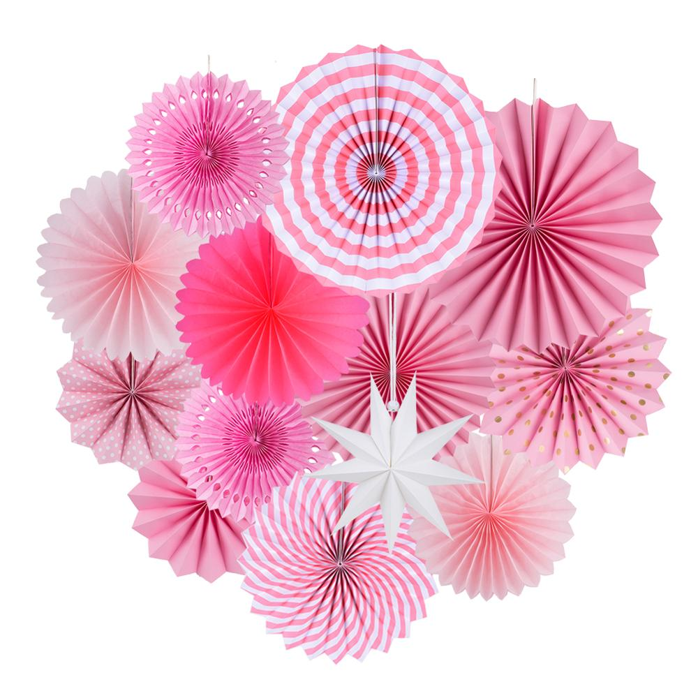 13pcs Pink Paper Fan Round Wheel For Baby Shower Kids Birthday Christmas Wedding Party Craft Event Photo Backdrop Decor