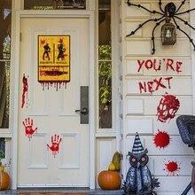 Halloween Horrible maldito pegatinas de mano de la pared de la puerta de la ventana etiqueta pegatinas decoración del partido de Halloween casa embrujada Prop