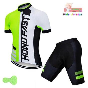 2020 nuevos niños verde conjunto de camisetas de Ciclismo Ropa para bicicleta...