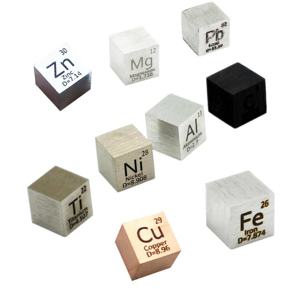 9 Pcs Element Cube-Set 10mm Metal Density Cubes For Daily Metals Periodic Table Collection Iron Copper Lead Nickel Titanium Mg C