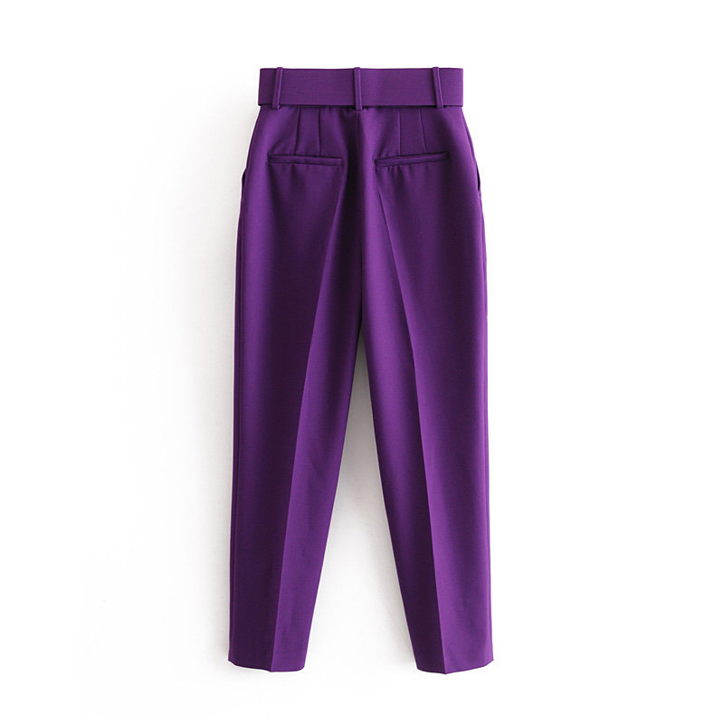 H12fedd0d95774c96885f76860b116c26i - Office Lady Black Suit Pants With Belt Women High Waist Solid Long Trousers Fashion Pockets Pantalones FICUSRONG Pencil