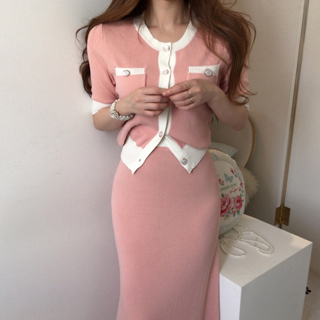 Elegant Knitted 2 Pieces Sets Single Breasted Short Sleeve O-neck Top + High Waist Long Skirt 4