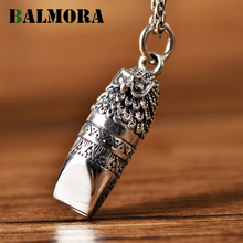 BALMORA Original 925 Real Sterling Silver Lifelike Owel Pendant for Women Men Blowable Whistle Charm Jewelry Gifts NO Chain