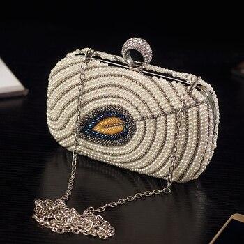 Women Fashion Evening Bag Pearl Diamond Studded Leaf Pattern Elegant Lady Clutch Purse Metal Frame Crossbody Party Shoulder Bag