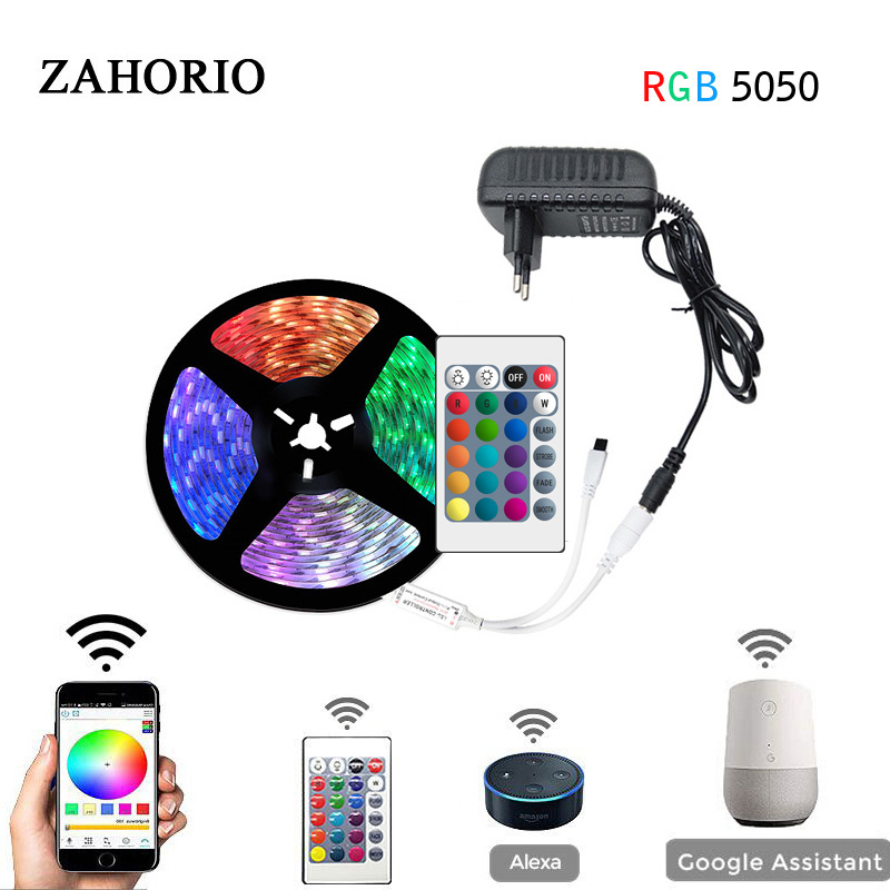 5M 10M 15M SMD 5050 RGB WiFi LED Strip Waterproof Tape DC 12V Ribbon RGB Flexible Music Light Strip Full Set + Power Adapter