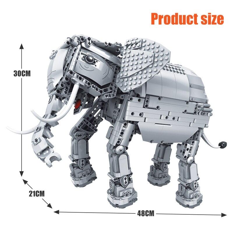 Erbo 1542 Pcs Creative Bouwstenen Fit Lego Technic Rc Afstandsbediening Olifant Dier Elektrische Bricks Speelgoed Voor Kinderen - 4