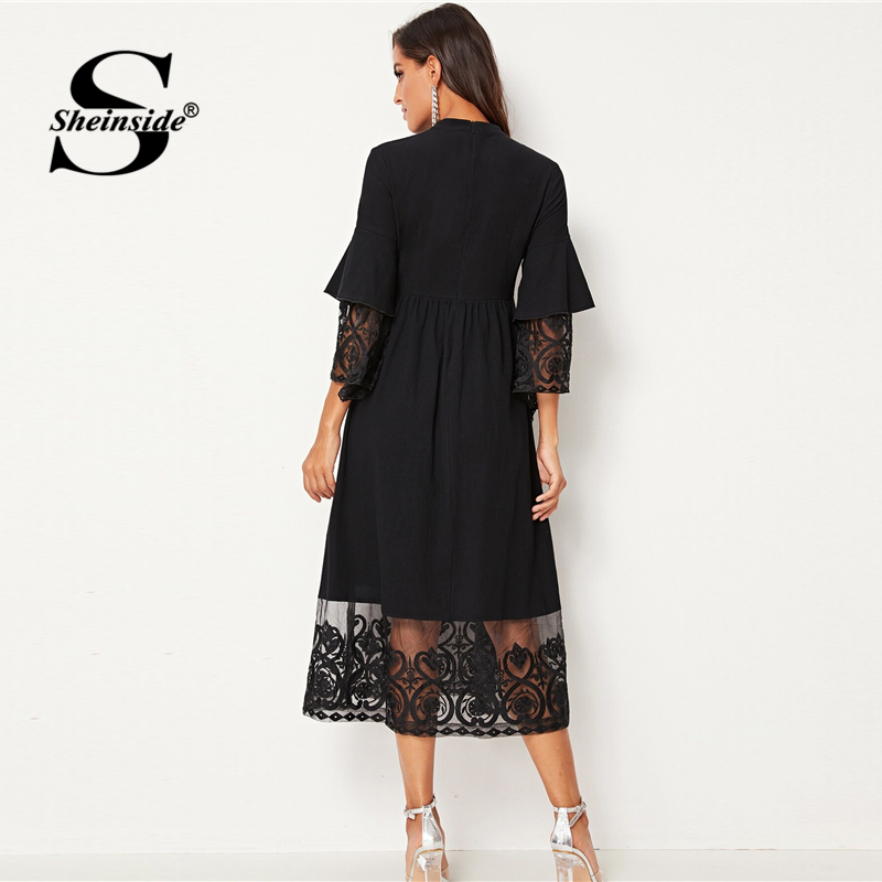 Image 2 - Sheinside Elegant Embroidered Mesh Pleated Dress Women 2019 Autumn 3/4 Sleeve Midi Dresses Ladies Layered Flounce Sleeve Dress-in Dresses from Women's Clothing