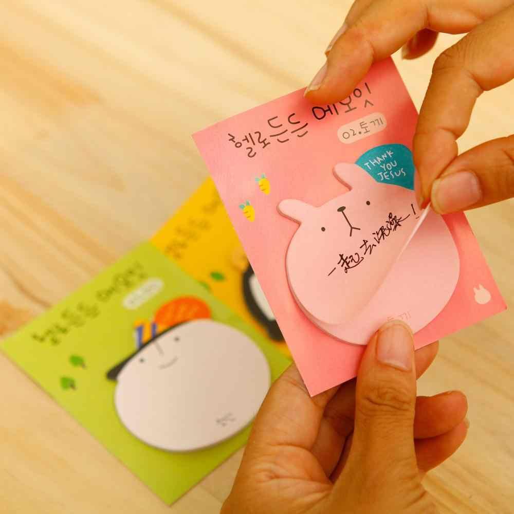 1pc mignon papeterie dessin animé tête Notes autocollantes Notes autocollantes N fois bureau de poste apprentissage Notes Note rappel étiquette autocollants