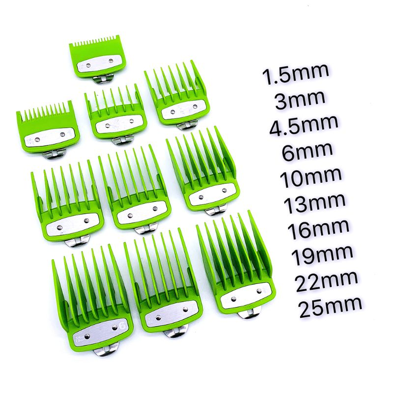 2/8/10PCS Barber Shop Styling Guide Comb Set Hair Trimmer Attachment Hairdresser Clipper Green Limit Comb With Metal Clip