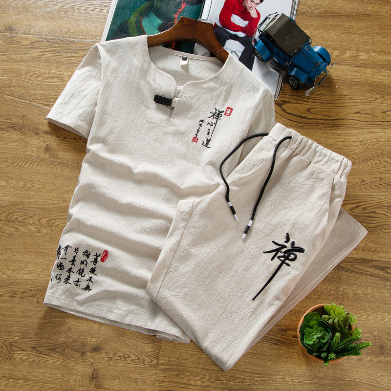 2018 Summer Flax Set Men Thin Cotton Linen Short Sleeve T-shirt Trousers Large Size Embroidered Chinese-style Two-Piece Set