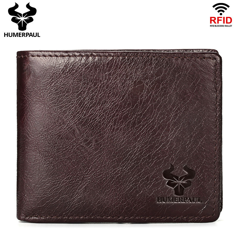 RFID Blocking Men's Wallet Top Layer Cowhide Purse  Retro Style Cards Holder Casual Coin Wallet High Quality Male Short Wallet