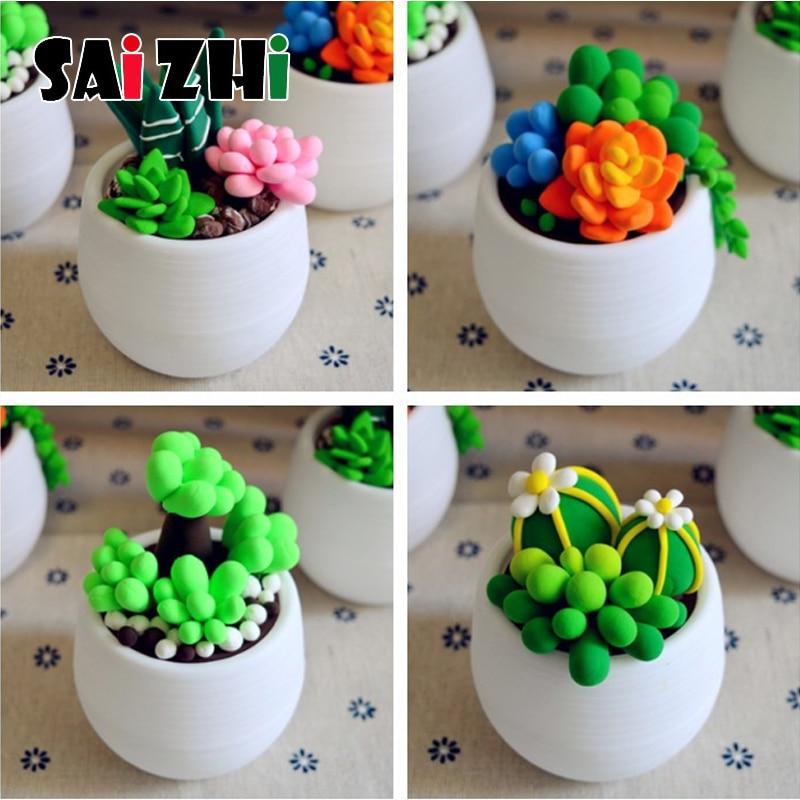 Saizhi DIY Clay Potted Succulents Early Educational Toy Set For Kids Desktop Decoration Craft Pot Child Intellectual Development