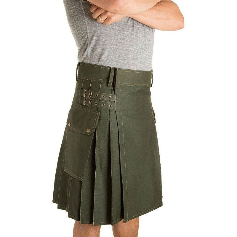 Holiday Utility Kilt Cargo Pocket Tartan Pleated Skirt Celtic Scottish Larp Costume Strap Cotton Bottoms Solid Color For Men