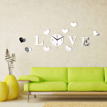 Fashion LOVE Romantic Wall Clock Good Quality Mirror Acrylic Material Quartz Movement Wall Clock Fashion Home Decoration(China)