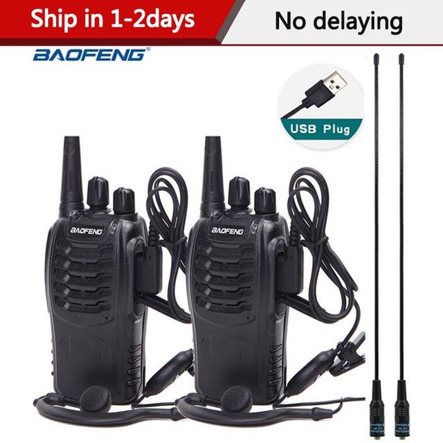 Baofeng Mini Walkie Talkie BF 888S, Radio portátil, transmisor, transmisor, BF888s, 16 canales, UHF, 2 uds.