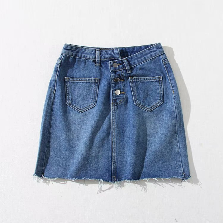 2019 Summer New Products Hong Kong Flavor Retro Irregular Button High-waisted A- Line Denim Skirt Frayed Hem Skirt