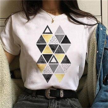 Beautiful geometry printed t shirt women 90s Graphic T-shirt Harajuku Tops Tee Cute Short Sleeve animal tshirt Female Tshirts 19