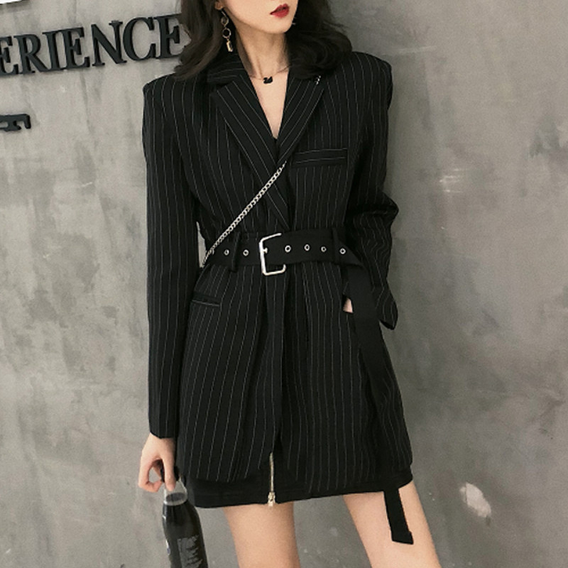 Gaganight Women Blazer Long-Coat Spring Long-Sleeves Notched Vintage Black Elegant Office Lady