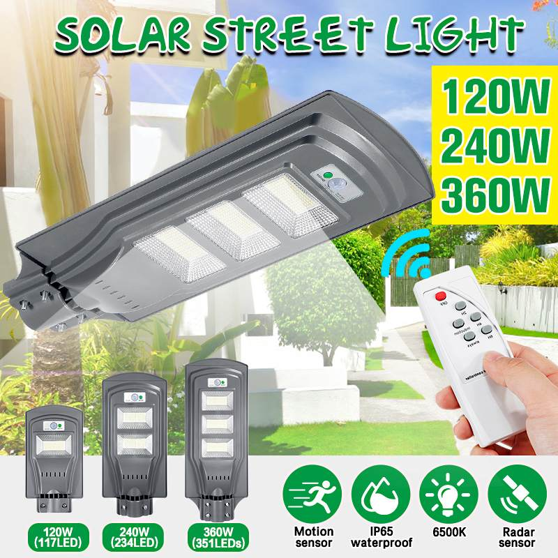 120W/240W/360W Solar Street Light Outdoor Garden Solar Radar PIR Motion Sensor Wall Light Solar Powered Light +Remote Control