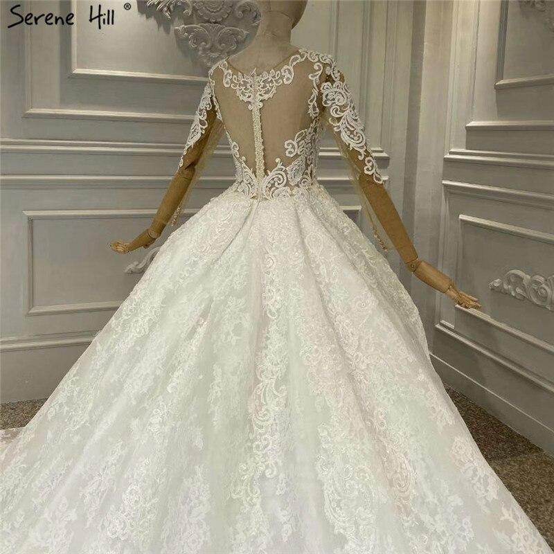 Image 4 - White Luxury Vintage O Neck Zipper Wedding Dresses 2020 Long Sleeves Beading Handmade Flowers Bride Gowns HA2314 Custom MadeWedding Dresses   -