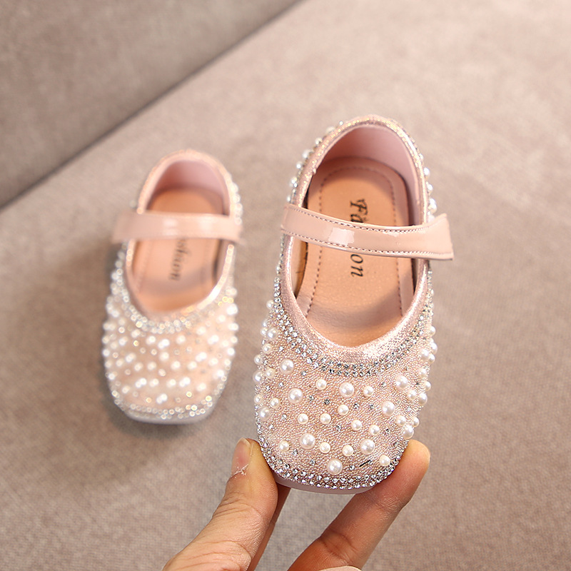 Image 4 - Cladoudou 11.5 15.5cm Brand Fashion Glitter Girls Flats Shoes with Full Pearls Gold Pink Bling Rhinestone Princess Dress ShoesLeather Shoes   -