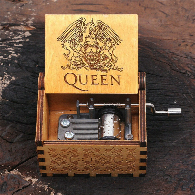 Festival Gift Hand Crank Music Box Wooden Engraved Queen Design Bohemian Rhapsody For Boy Girl Children Gifts
