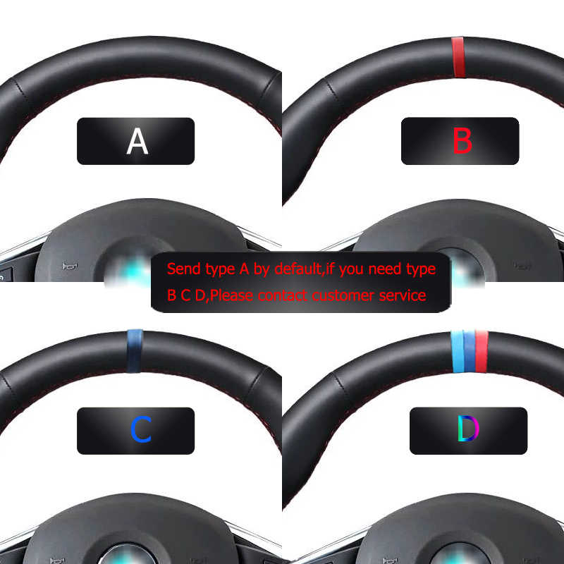 Hand-Gestikt Zwart Lederen Stuurhoes Voor Volvo S60 V40 V60 V70 2014 XC60
