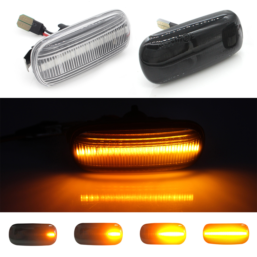 (2) No Error Ambe Dynamic <font><b>LED</b></font> Side Marker Smoked Turn Signal Light For <font><b>Audi</b></font> A3 S3 8P A4 S4 RS4 B6 B7 A6 S6 RS6 C5 C6 TT 8J <font><b>A8</b></font> <font><b>D3</b></font> image
