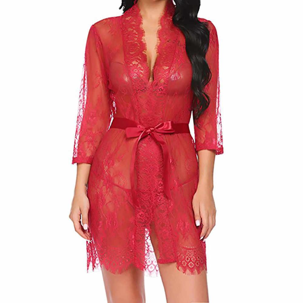 2019 חדש סקסי הלבשה תחתונה קיץ סקסי נשים גבירותיי כלה גלימות קימונו חלוק סאטן תחרה ללבוש בלילה שמלת הלבשת נשים פיג 'מה @ 50