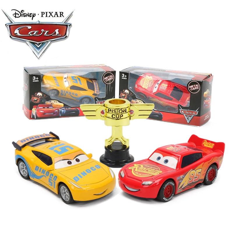7-9cm Disney Pixar Cars 3 Lightning McQueen Mater Jackson Storm Ramirez 1:55 Diecast Metal Pull Back Car Toy Model Boys Gifts