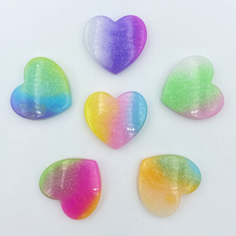 12Pcs Resin Mixed Bling Heart-shaped Decoration Crafts Flatback Embellishments For Scrapbooking Beads Diy Accessories