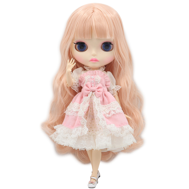 Blyth Doll 1/6 Joint Body New matte face white skin Teenage pink curly hair DIY BJD toys gift Special Offer with hand group AB