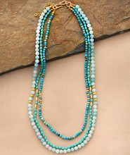 Statement Collar Necklaces Natural Stone Crystal Amazonite Multilayer Necklaces Women Elegant Gifts Chain Jewelry